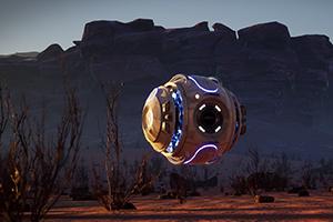 """Die Produktion """"Exodus"""" über eine Drohne, die auf einen Wüstenplaneten geschickt wurde, entstand im Wintersemester 2020/2021 an der HdM (Foto: Projektteam)"""