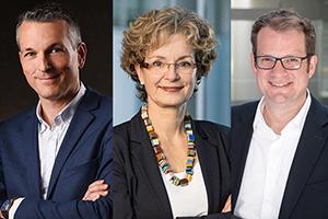Der Hochschulratsvorsitzende Andreas Bieswanger, seine Stellvertreterin Prof. Cornelia Vonhof und der neue Hochschulrat Prof. Dr. Simon Wiest (von links, Fotos: IBM, HdM)
