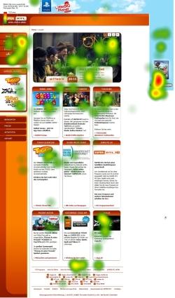 Wie betrachten Kinder Websites? Das haben die HdM-Forscher u.a. mit dem Eyetracking-Verfahren untersucht. Hier exemplarisch zu sehen: die SuperRTL-Website als Blick-'Heatmap'. (Screenshot: HdM)