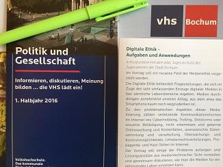 Am 26. und 27. Februar 2016 fand an der Volkshochschule Bochum eine Vortragsveranstaltung mit Workshop zur Medienethik statt, die das Institut für Digitale Ethik anbot. Dozent war HdM-Professor Oliver Zöllner (Foto: Oliver Zöllner)