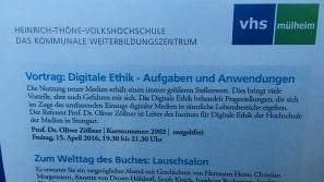 Der Vortrag zur Digitalen Ethik wurde von der Volkshochschule Mülheim an der Ruhr breit beworben (Foto: Oliver Zöllner).