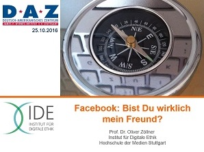 In seinem Vortrag am Deutsch-Amerikanischen Zentrum Stuttgart fragte Prof. Dr. Oliver Zöllner, inwieweit Facebook als