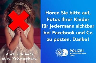 Der Aufruf der Polizei Hagen vom Oktober 2015, keine Kinderbilder in Social Media frei zugänglich zu posten. (Bildquelle: Polizei Hagen i.W./mit freundlicher Genehmigung)