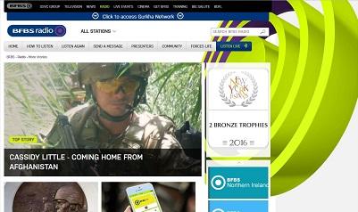 Der British Forces Broadcasting Service (BFBS) ist heute ein weltumspannendes Netz von Hörfunk- und Fernsehprogrammen für die britischen Streitkräfte. (Screenshot www.bfbs.com/radio, 7.3.2017: Oliver Zöllner)