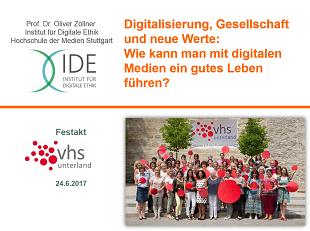Beim Festakt '25 Jahre Volkshochschule Unterland' hielt HdM-Professor Oliver Zöllner am 24. Juni 2017 in Bad Rappenau einen Vortrag zum Thema 'Digitalisierung, Gesellschaft und neue Werte'. (Screenshot: Oliver Zöllner)