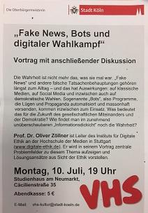 Das Plakat zum Vortrag. (Foto: Oliver Zöllner)