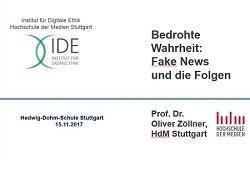 Wie kann man Schülerinnen und Schüler für Fragen der Medienethik aufschließen? Dies war der Ansatzpunkt der Lehrerfortbildung zum Thema 'Bedrohte Wahrheit' am 15.11.2017 an der Hedwig-Dohm-Schule in Stuttgart. (Grafik: Oliver Zöllner)