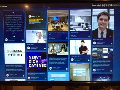 Die Social-Media-Wall zum Thema der Veranstaltung (Foto: Oliver Zöllner)