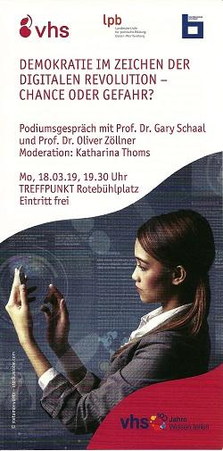 Das Plakat zur Podiumsdiskussion am 18.3.2019 (Vorlage: VHS Stuttgart)