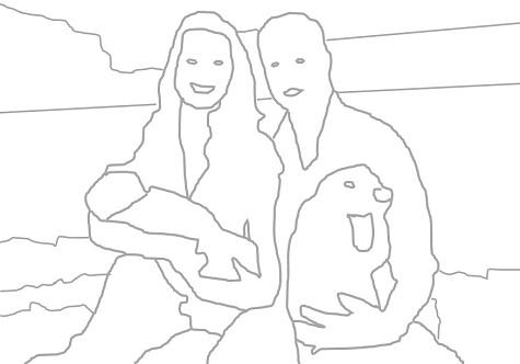 Maria und Josef mit dem Jesuskindlein. Nein. Doch. Oh! Es sind Catherine, William und George. Zwei Hunde sind auch dabei, denn Schafe waren nicht verfügbar. Was hat das alles zu bedeuten? (Zeichnung nach Fotovorlage: Oliver Zöllner)