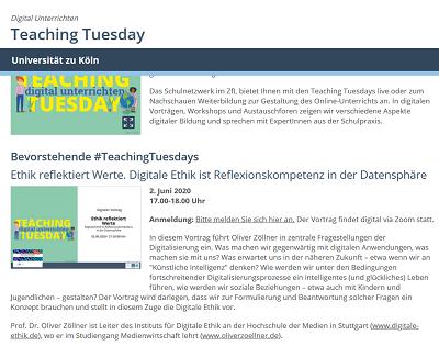 Digitale Ethik in der Lehre: Vortrag in der Reihe '#TeachingTuesdays' am Zentrum für LehrerInnenbildung der Uni Köln (Screenshot: Oliver Zöllner).