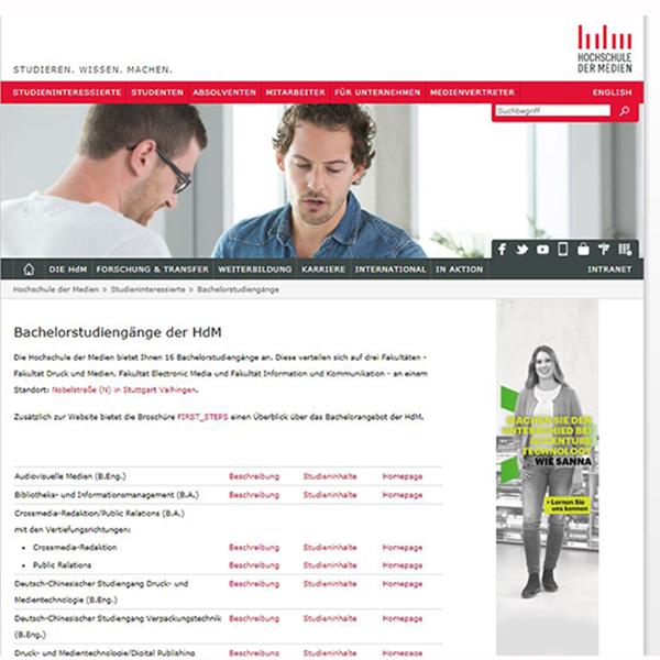Das Screenshot zeigt die Einbindungsmöglichkeiten für Werbung auf der Webseite.